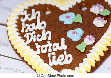 Love - Gingerbread heart with the german words I love you...