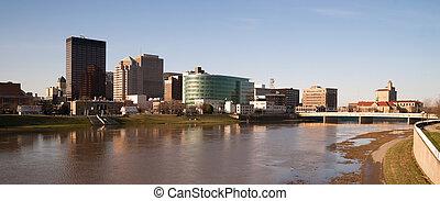 Dayton Ohio Waterfront Downtown City Skyline Miami River