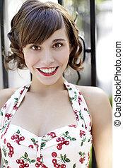 stylish retro Girl - Young beautiful caucasian woman posing...