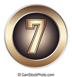 7 Numbers - metallic Font Vector