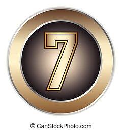 7 Numbers - metallic Font Vector