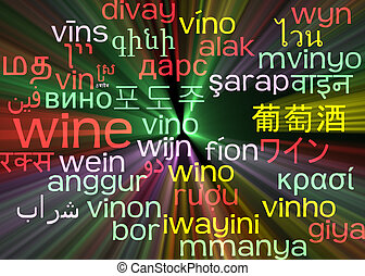 Wine multilanguage wordcloud background concept glowing