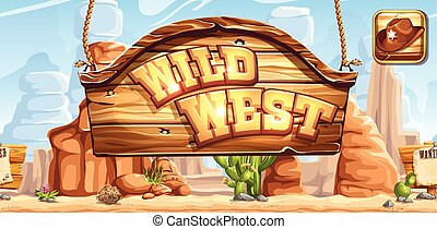 Horizontal banner and icon for the game Wild West...