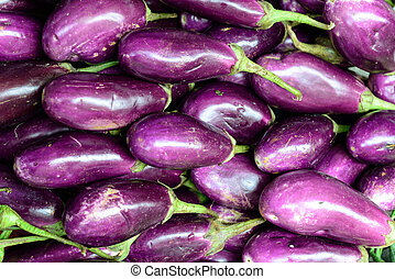 brinjal - Close up of fresh aubergines eggplant, selective...