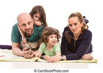 Cheerful family with two kids - Cheerful mother and father...