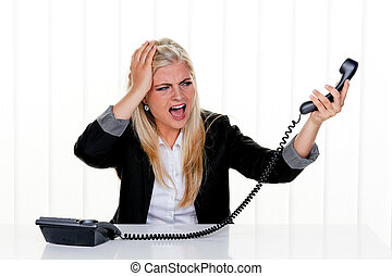 Attractive Woman Yelling at the Telephone