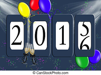 odometer for New Year 2016 - Odometer for New Year 2016 with...