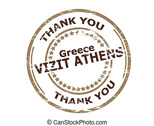 Visit Athens - Rubber stamp with text visit Athens in...