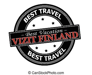 Visit Finland - Rubber stamp with text visit Finland in...