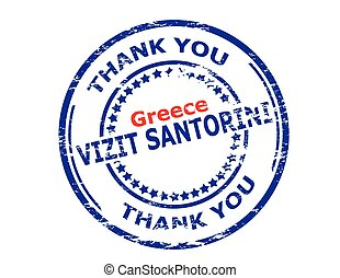 Visit Santorini - Rubber stamp with text visit Santorini in...