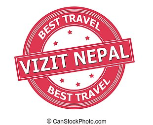 Visit Nepal - Rubber stamp with text visit Nepal in Haitian...