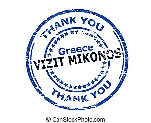 Visit Mikonos - Rubber stamp with text visit Mikonos in...