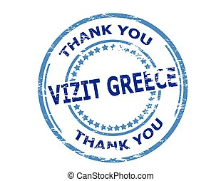 Visit Greece - Rubber stamp with text visit Greece in...