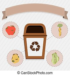 Organic food selective collection - Brown trash for the...