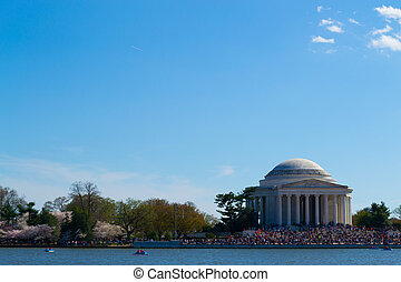Thomas Jefferson Memorial with people - In commemoration of...