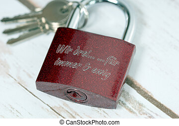Love - Padlock with the german words We three forever and...