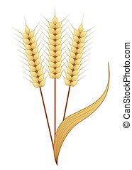 Gold Wheat - Three wheat strands in a bundle.