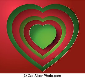 paper heart - Valentines day abstract background with cut...
