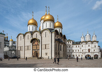 The Cathedral of the Dormition in Moscow remlin, Russia