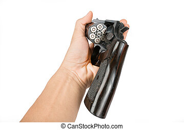 Mens hand with a Black revolver gun isolated on white...