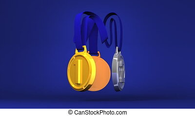 Rotating 3Medals On Blue Background. Loopable 3D render...