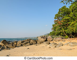 Khao Lak beach in Thailand - Rock shore beach at Khao Lak in...