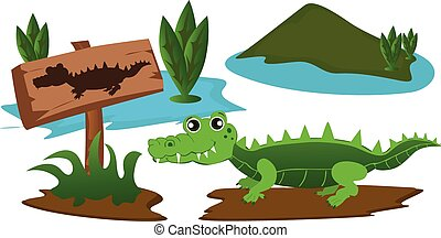 Crocodile in the swamp with warning