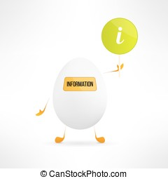 Happy cartoon egg creature with information sign. Cute assistance robot with indicator board. Funny help service character. Vector illustration.