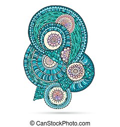 Henna Paisley Mehndi Doodles Abstract Floral Vector Design Element.
