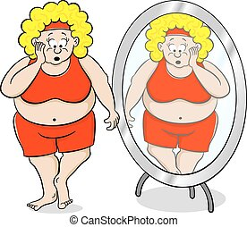 overweight woman is shocked in front of a mirror - vector...