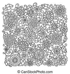 Ethnic floral retro doodle background pattern circle in...