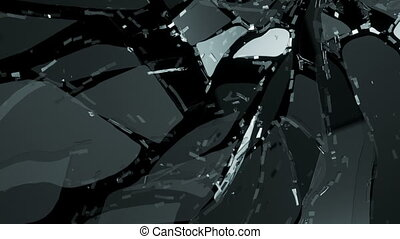 Glass broken and shattered in pieces with motion blur and...