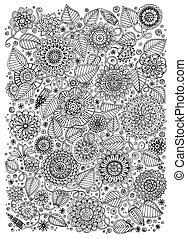Black and white pattern for adults or kids coloring book . -...