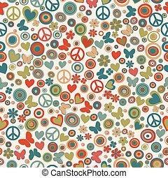 Vintage colors flower power background