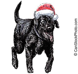 Labrador Retriever - Black Labrador Retriever with santa...