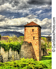 Medieval fortifications of Bergheim - Haut-Rhin, France