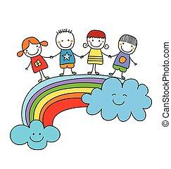best friends - happy children on a rainbow, best friends