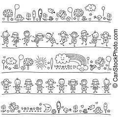 pattern with children and cute nature elements