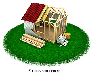 house construction - 3d illustration of house constuction...