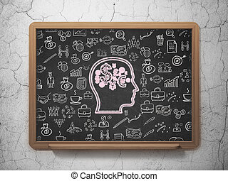 Business concept: Head With Finance Symbol on School Board background