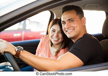 Pretty couple in love - Portrait of an attractive Hispanic...