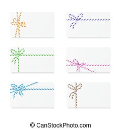 Card notes with gift bows - Collection of six card notes...