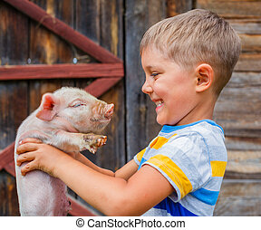 Boy with piglet - Young farmer - cute boy holding white...