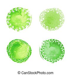 Watercolor circles with flotal pattern