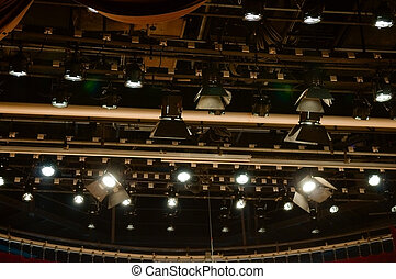 Spotlights - Multiple stage spotlight arrangement on ceiling...
