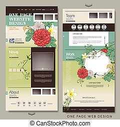 graceful one page website template design with peonies