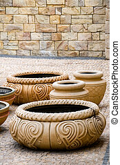 Antique old potteries - The group of antique decorative clay...