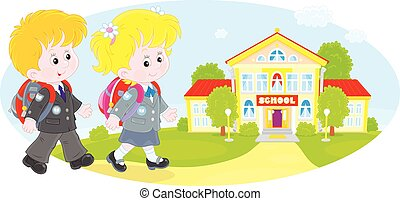 Schoolchildren going to school - Schoolgirl, schoolboy and...