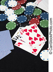 poker cards, games and betting and casinos chips
