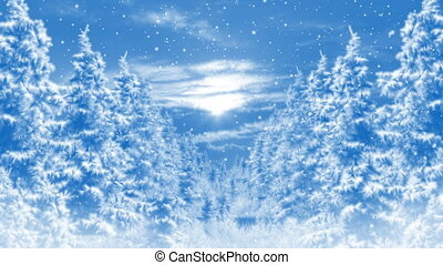 Winter background scenery and falling snow